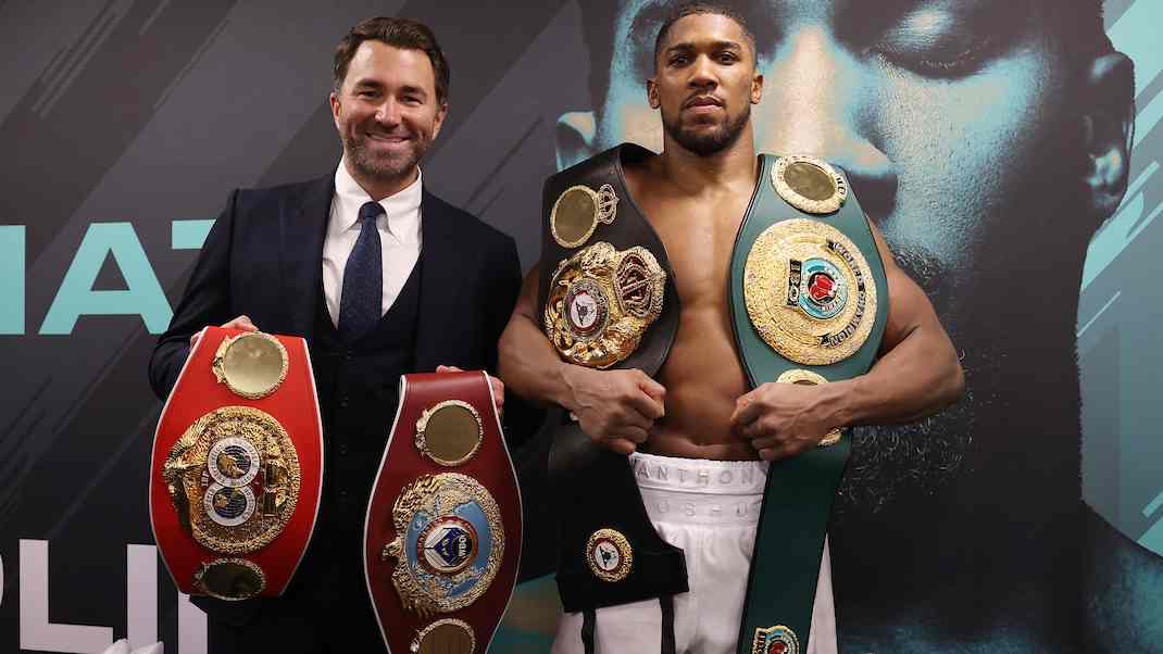 Eddie Hearn Anthony Joshua Belts